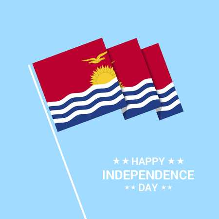 Kiribati Independence day typographic design with flag vector