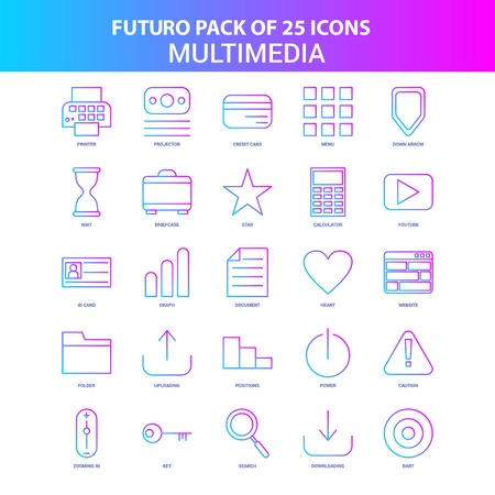 25 Blue and Pink Futuro Multimedia Icon Pack