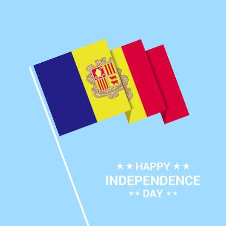 Andorra Independence day typographic design with flag vector