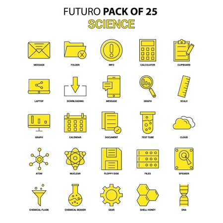 Science Icon Set. Yellow Futuro Latest Design icon Pack Illustration