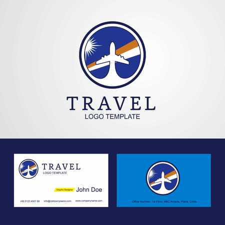 Travel Marshall Islands Creative Circle flag Logo and Business card design Çizim