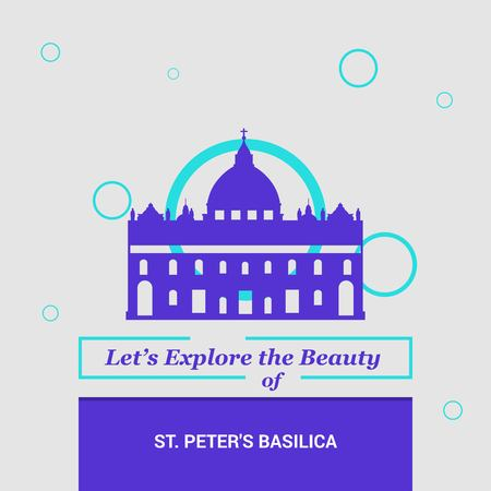 Let's Explore the beauty of St Peter's Basilica, Italy National Landmarks Illustration