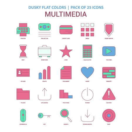 Multimedia icon Dusky Flat color - Vintage 25 Icon Pack