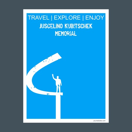 Juscelino Kubitschek Memorial Eixo Monumental, Brasília monument landmark brochure Flat style and typography vector