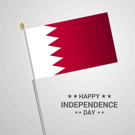 Conception typographique de la fête de l'indépendance de Bahreïn avec vecteur de drapeau Vecteurs