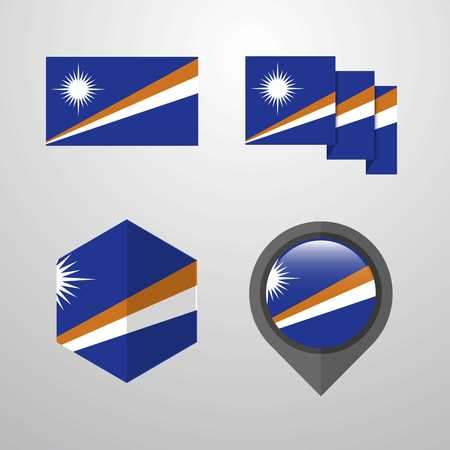 Marshall Islands flag design set vector