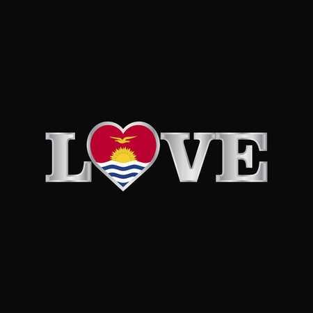 Love typography with Kiribati flag design vector
