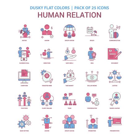 Human Relation icon Dusky Flat color - Vintage 25 Icon Pack  イラスト・ベクター素材