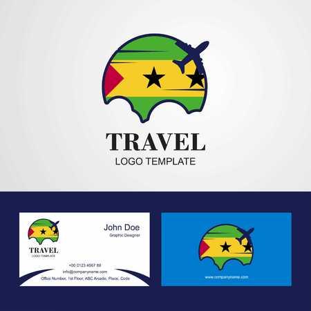 Travel Sao Tome and Principe Flag Logo and Visiting Card Design