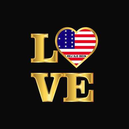 Love typography Bikini Atoll flag design vector Gold lettering
