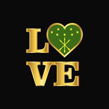 Love typography Adygea flag design vector Gold lettering