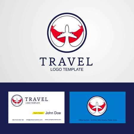 Travel Ecuador Creative Circle flag Logo and Business card design