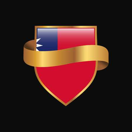 Taiwan flag Golden badge design vector