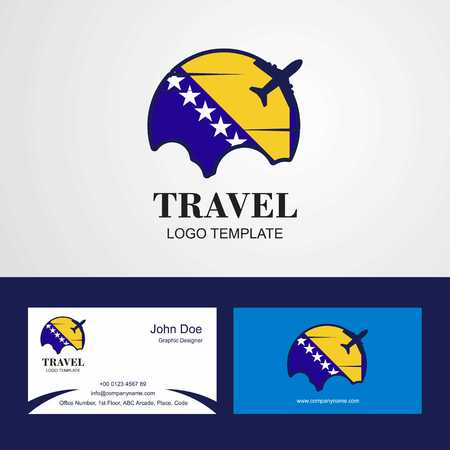 Travel Bosnia and Herzegovina Flag Logo and Visiting Card Design