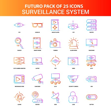 Orange Futuro 25 Surveillance Icon Set  イラスト・ベクター素材