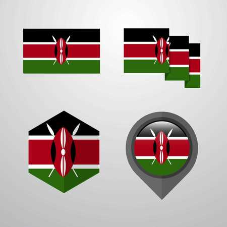 Kenya flag design set vector