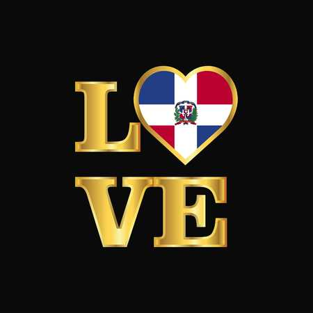 Liebe Typografie Dominikanische Republik Flagge Design Vektor Gold Schriftzug