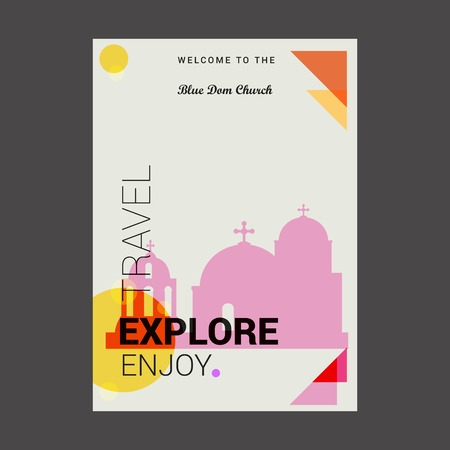 Welcome to The Blue Dom Church, Slovakia Explore, Travel Enjoy Poster Template
