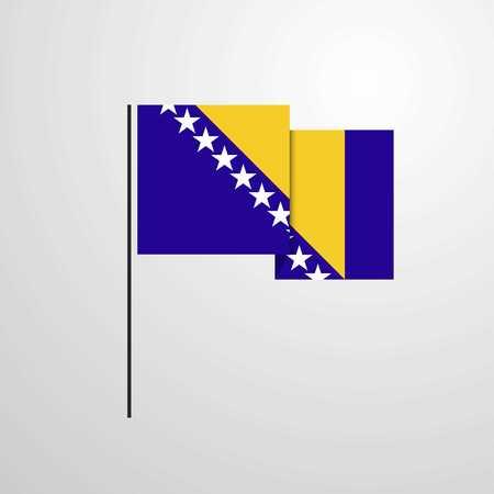 Bosnia and Herzegovina waving Flag design vector Illustration
