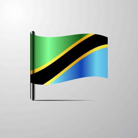 Tanzania waving Shiny Flag design vector