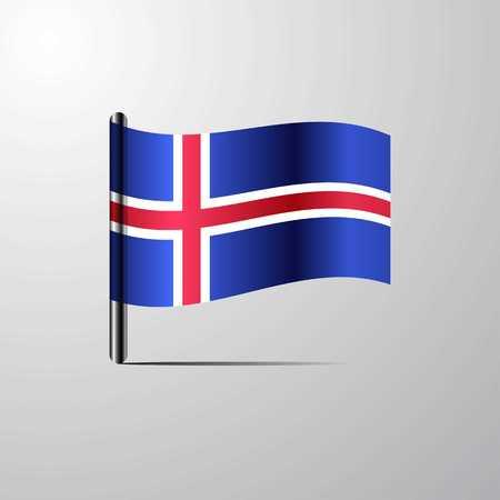 Iceland waving Shiny Flag design vector Ilustração