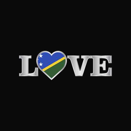 Love typography with Solomon Islands flag design vector