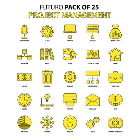 Project Management Icon Set. Yellow Futuro Latest Design icon Pack 版權商用圖片 - 118295238
