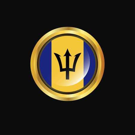 Barbados flag Golden button