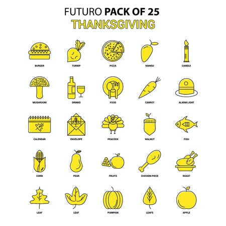 Thanksgiving  Icon Set. Yellow Futuro Latest Design icon Pack Illustration