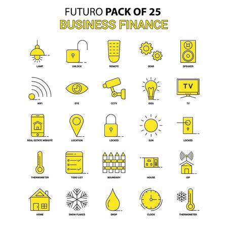 Business Finance  Icon Set. Yellow Futuro Latest Design icon Pack