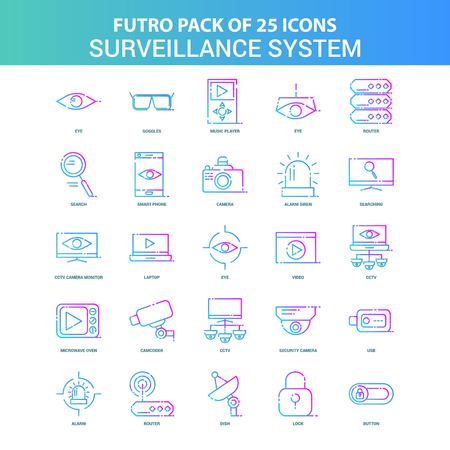 25 Green and Blue Futuro Surveillance Icon Pack
