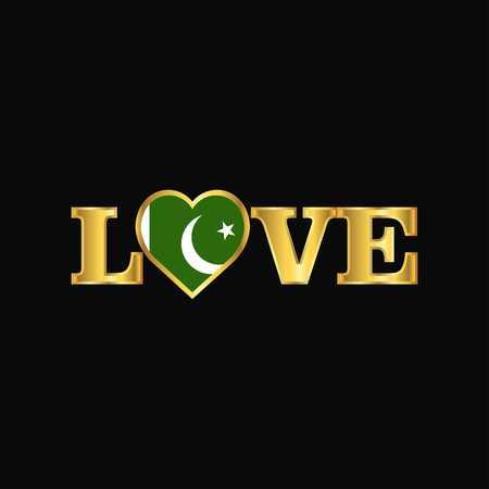 Golden Love typography Pakistan flag design vector Ilustração