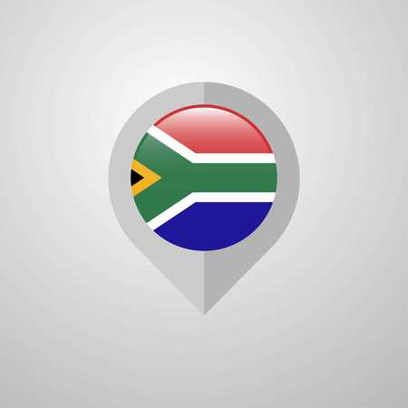 Map Navigation pointer with South Africa flag design vector