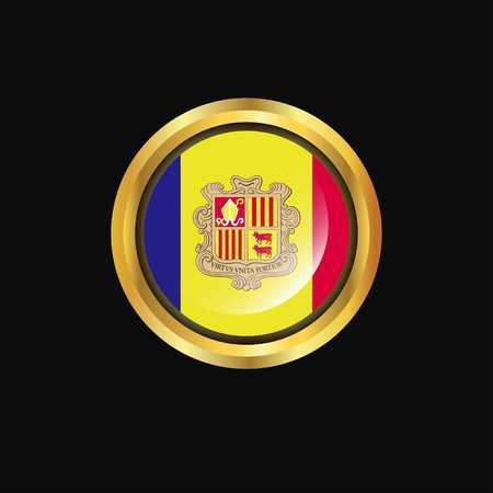 Andorra flag Golden button