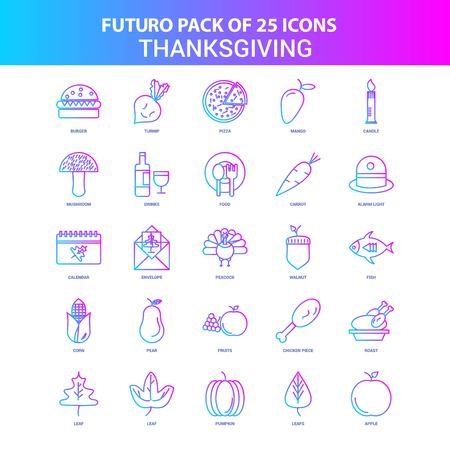 25 Blue and Pink Futuro Thanksgiving  Icon Pack