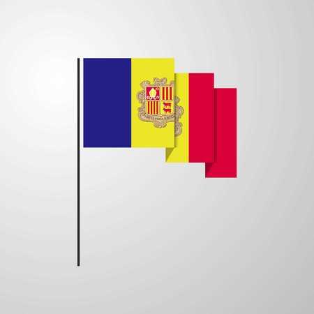 Andorra waving Flag creative background