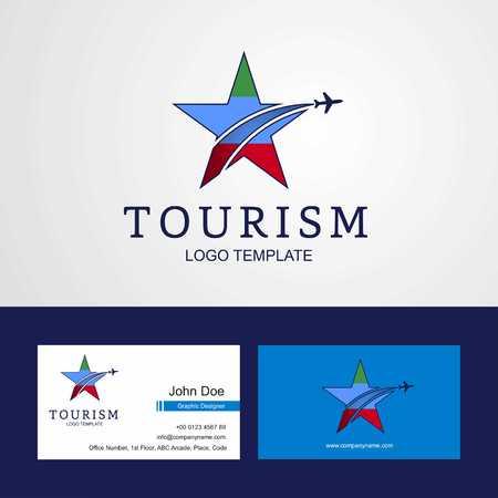 Travel Dagestan flag Creative Star Logo and Business card design Illustration