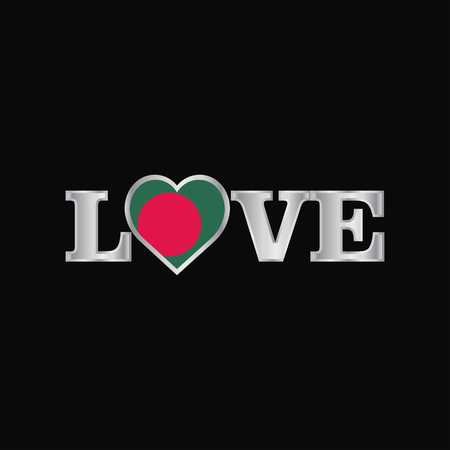 Love typography with Bangladesh flag design vector
