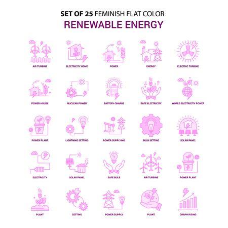 Set of 25 Feminish Renewable Energy Flat Color Pink Icon set Standard-Bild - 111456040