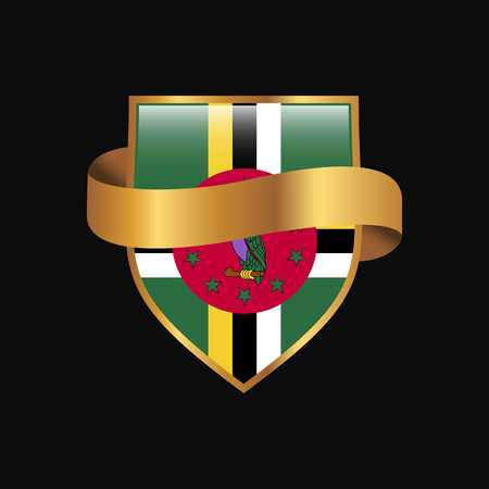 Dominica flag Golden badge design vector Vektorové ilustrace