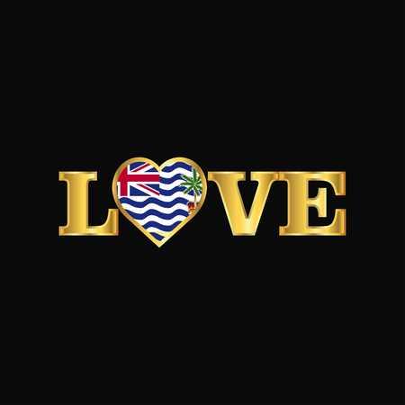 Golden Love typography British Indian Ocean Territory flag design vector
