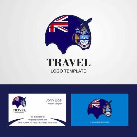 Travel Tristan da Cunha Flag Logo and Visiting Card Design