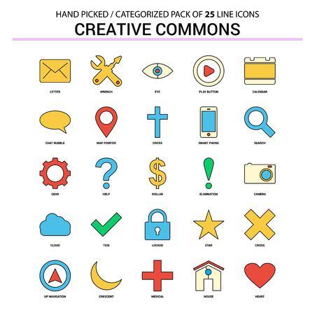 Creative Commons Flat Line Icon Set - Business Concept Icons Design Illustration
