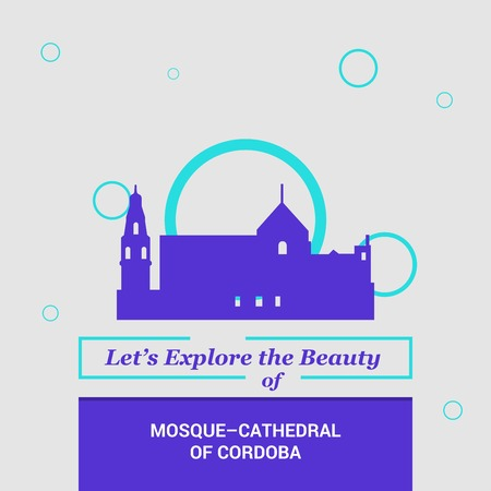 Let's Explore the beauty of Mosque-cathedral of Cardoba, Spain National Landmarks  イラスト・ベクター素材
