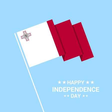 Malta Independence day typographic design with flag vector Vektoros illusztráció