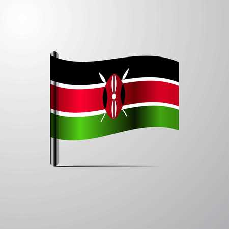 Kenya waving Shiny Flag design vector  イラスト・ベクター素材