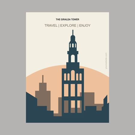 The Giralda Tower Seville, Spain Vintage Style Landmark Poster Template