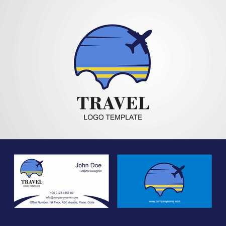 Travel Aruba Flag Logo and Visiting Card Design Illustration