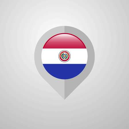 Map Navigation pointer with Paraguay flag design vector