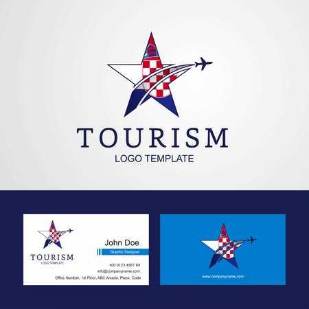 Travel Croatia flag Creative Star Logo and Business card design